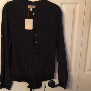 Bradamant black thong style blouse NWT